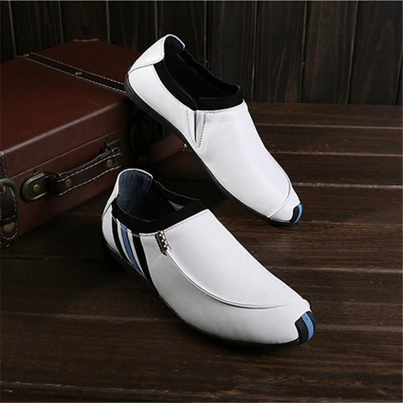 夏季新款男士休闲鞋头层牛皮真皮白色皮鞋欧美低帮豆豆鞋懒人套脚