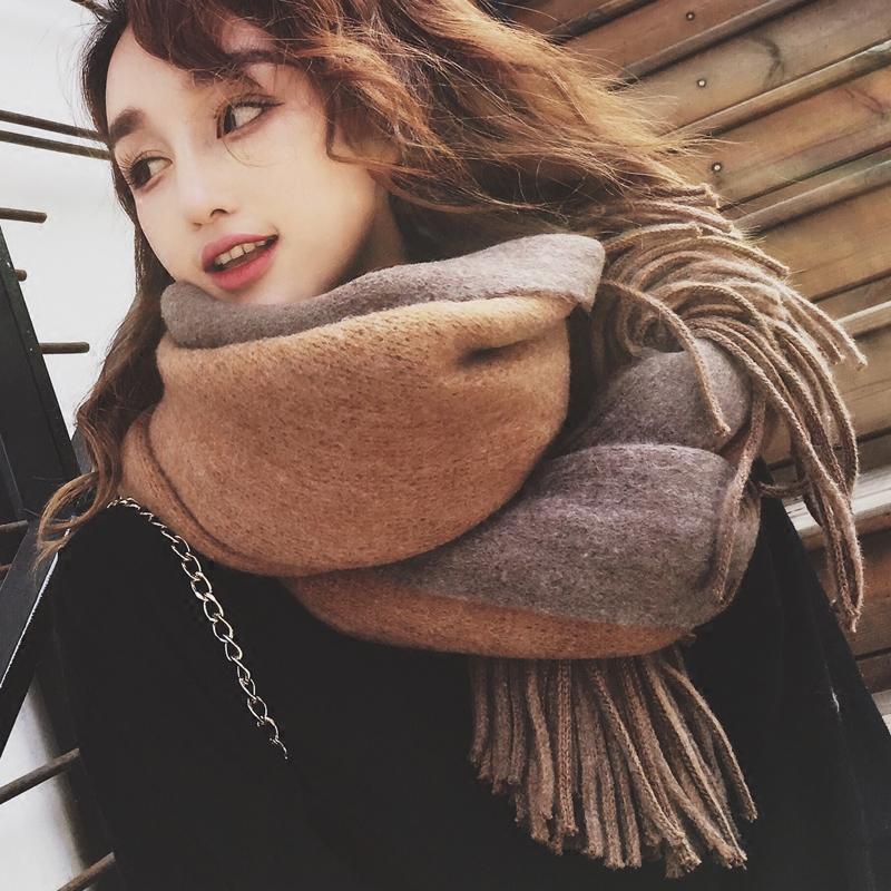 ��巾女冬季�n版�L款�色�W生百搭加厚�p面英��披肩�妹秋冬天��脖