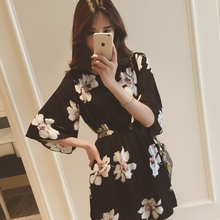 2015 European summer South Korea fashion women's clothing new sweet printed five points show thin sleeve chiffon dress