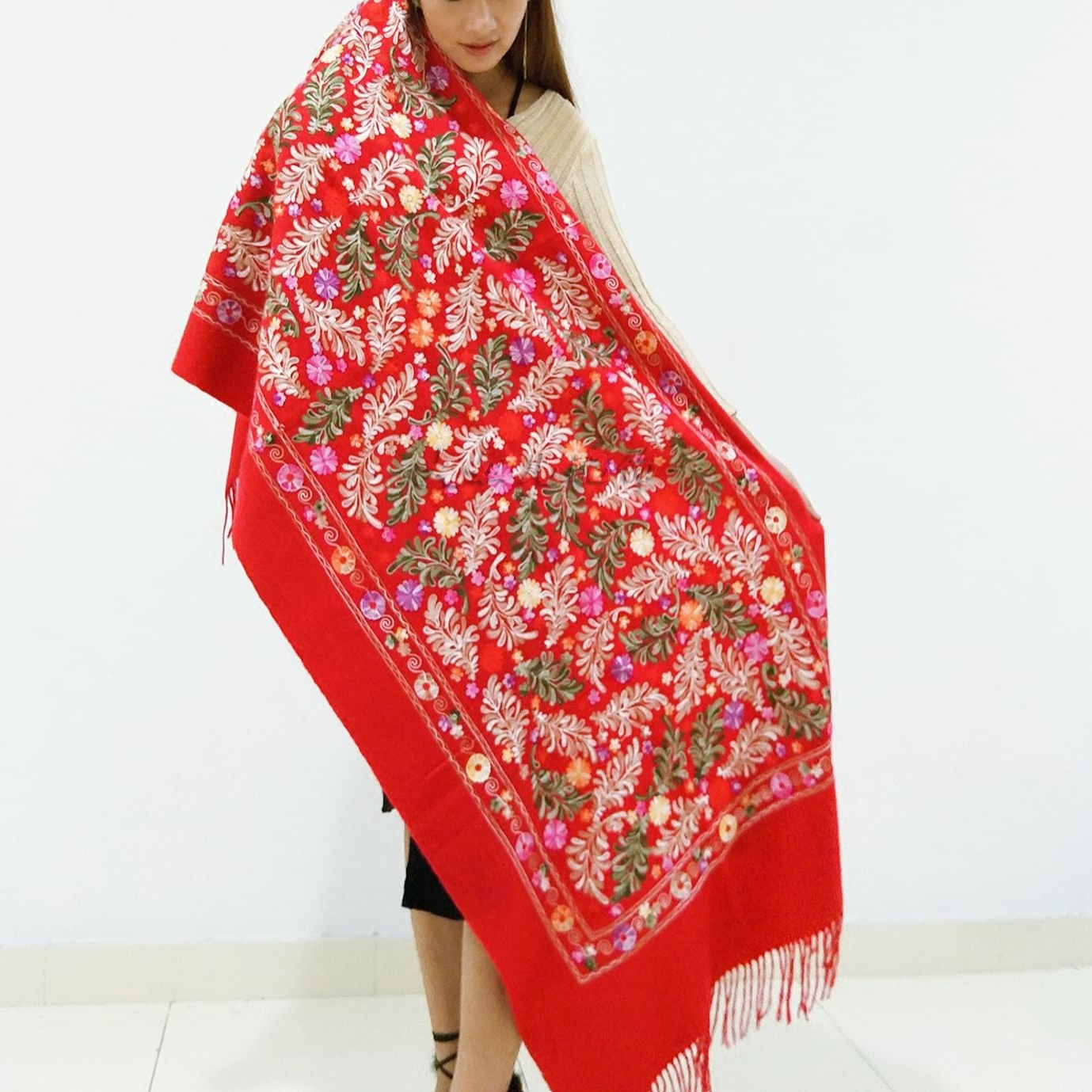 Winter Scarf womens exotic ethnic style wool cashmere versatile long fashion Nepal embroidered tourism shawl