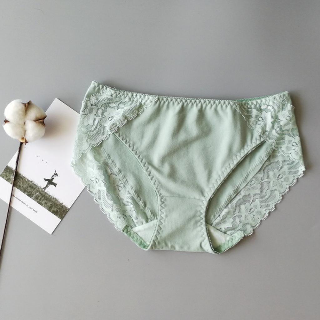 简约纯色蕾丝边纯棉中腰透气三角裤限10000张券