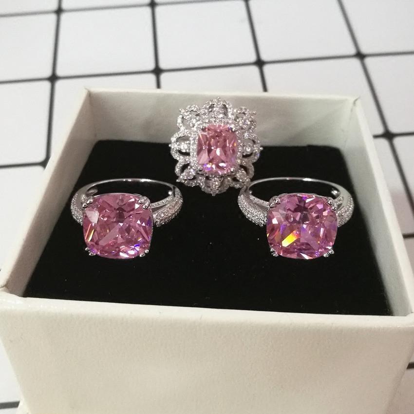 欧美饰品微镶锆石夸张花朵方钻立体精致女式戒指指环宴会奢华