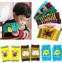 Knee children cartoon crawling mat knitting cotton sleeve long leg warmers crawling infants and young children learn to climb pad man cuff