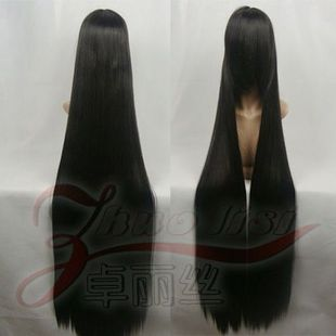 cosplay Wig Black 120cm high temperature wire Enma love Lixing engraved COS wig