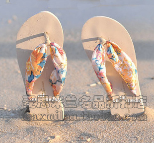 Wild new bohemian silk sandals summer sandals slippers flip slope with flat sandals with silk