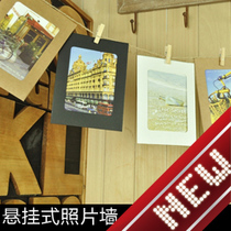 Handmade DIY photo wall hanging wooden clip twine frame combination Polaroid LOMO PHOTO Special