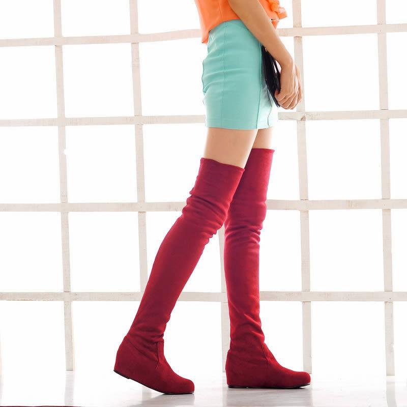 2012秋冬新款 韩版时尚内增高弹力磨砂靴 长靴过膝靴 大码女靴子