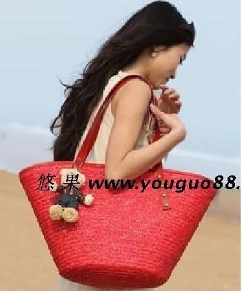 2件包邮费 送熊熊 大红色手工草编织包 沙滩包 女包 草包