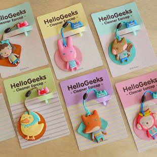 South Korea imported romane cute cartoon animal heads hanging dust plug the phone screen wipe