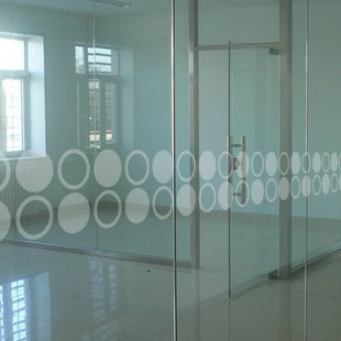 Custom office waistline glass door crash bar custom glass company logo LOGO partition window film