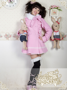 L amp P Lolita princess dress crooked naughty baby pink double breasted cashmere winter coat short paragraph