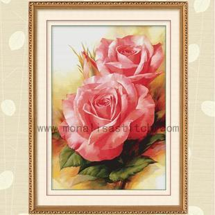 New Year Clearance 40 off genuine royal thrown Mona Lisa cross stitch floral pink roses I 076