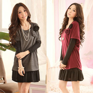 Ortega fat fat fat mm XL Autumn Korean women were thin fat sister oversized dress 200 pounds