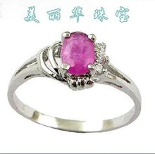 S925 silver plated platinum quality natural ruby ring