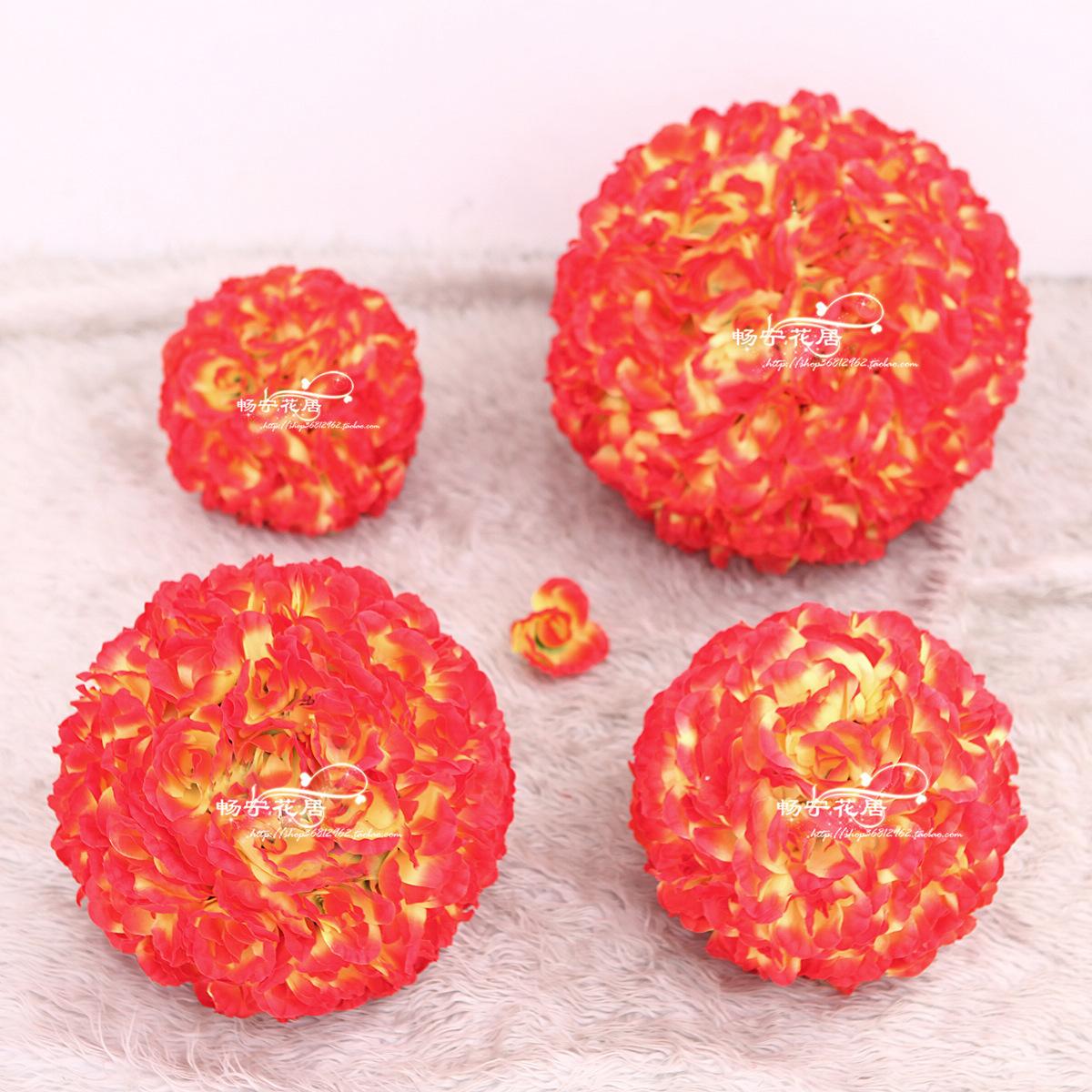 Цветок мяч (красный закат Mall 4S магазин свадьба) розы орнаменты макет новой шелковые цветы искусственные цветы сушеные цветы оптом