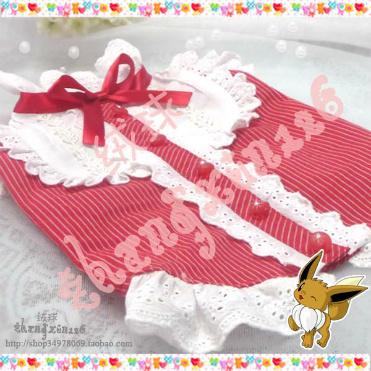 绒球工作室 手工宠物衣服装红色蕾丝loli衬衫马甲狗龙猫猴兔