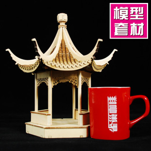 Small wooden carpenter assembled DIY cabin timber Jiangnan ancient architecture model Keting