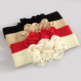 Ms Spring wild flowers elastic wide belt decorated Korean fashion chiffon skirt female black belt girdle