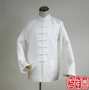 Linen spring of the year Men s T shirt with long sleeves costume Chinese men s long sleeved shirt shirt Spring