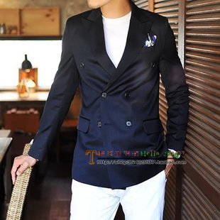 New winter men s navy blue double breasted suit jacket Slim Korean version of a suit jacket