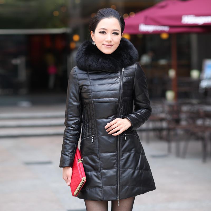 Кака 2015 новой корейской версии Haining кожа меха женщин длинные пальто с капюшоном из овчины кожаные куртки