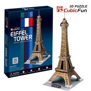 Qing Crown genuine 3D stereo music cube puzzle hardcover Paper Craft Eiffel Tower France