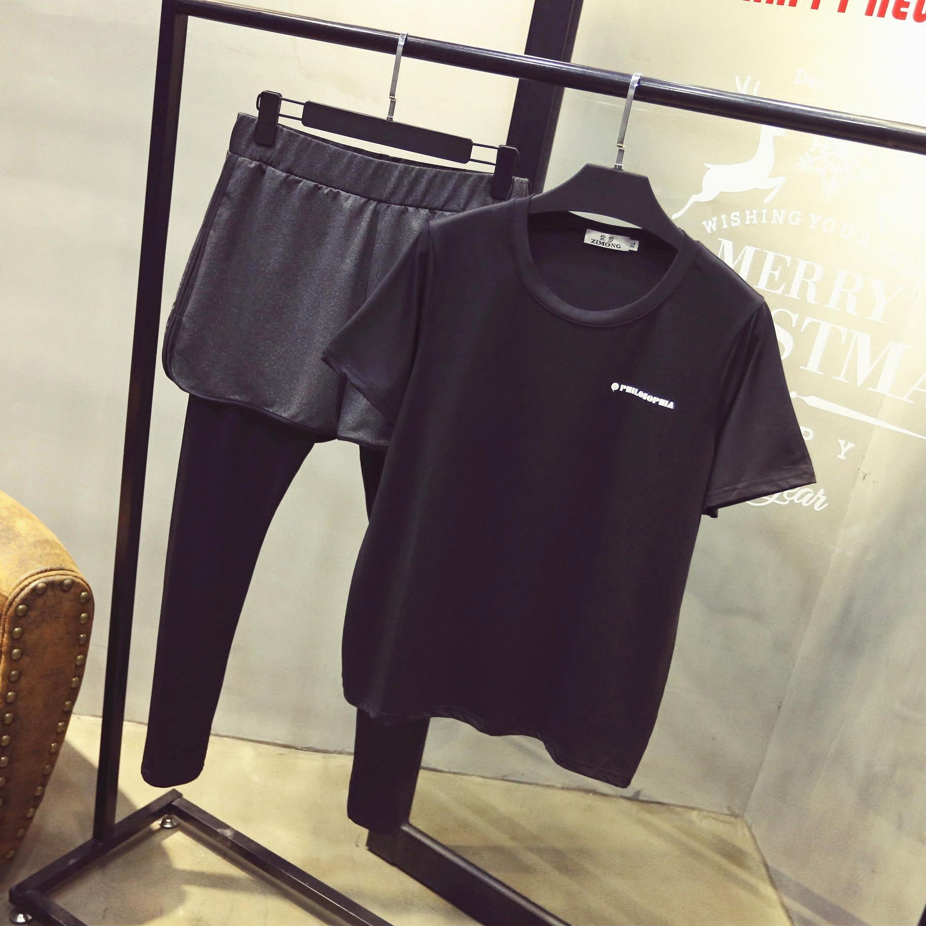 超大码女装200斤胖mm春装加肥加大码运动两件套装健身弹力裤子夏