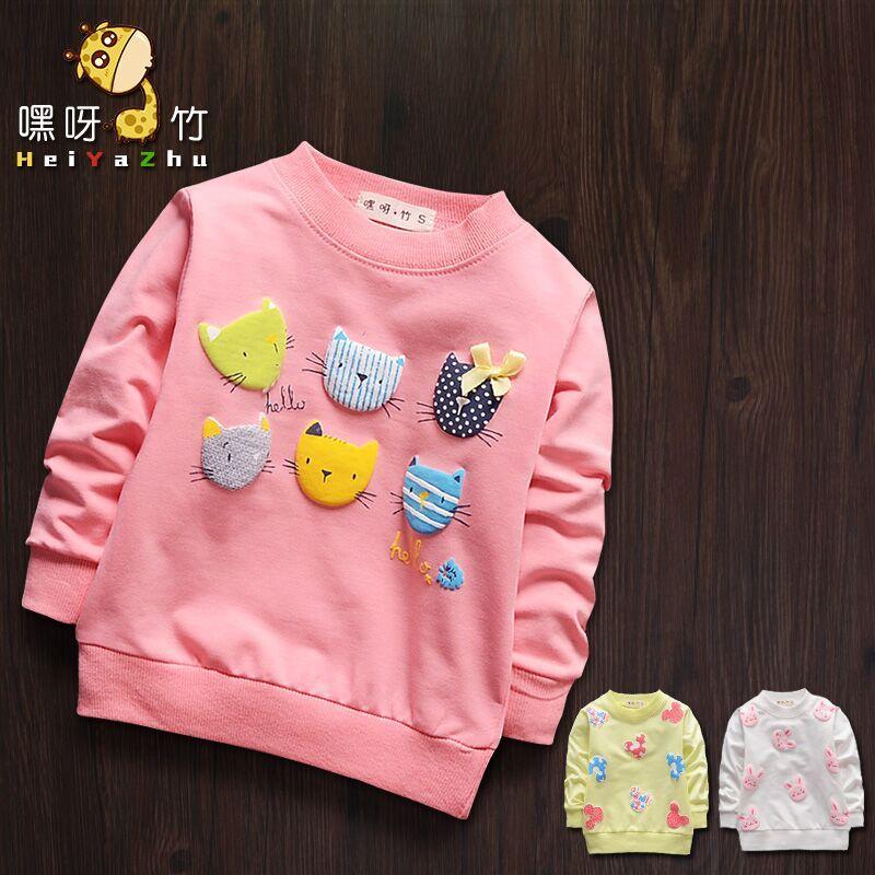 Мультфильм девочек сделать одежду для детей хлопка с длинным рукавом рубашки t 1-3 baby куртка девушка белый топ