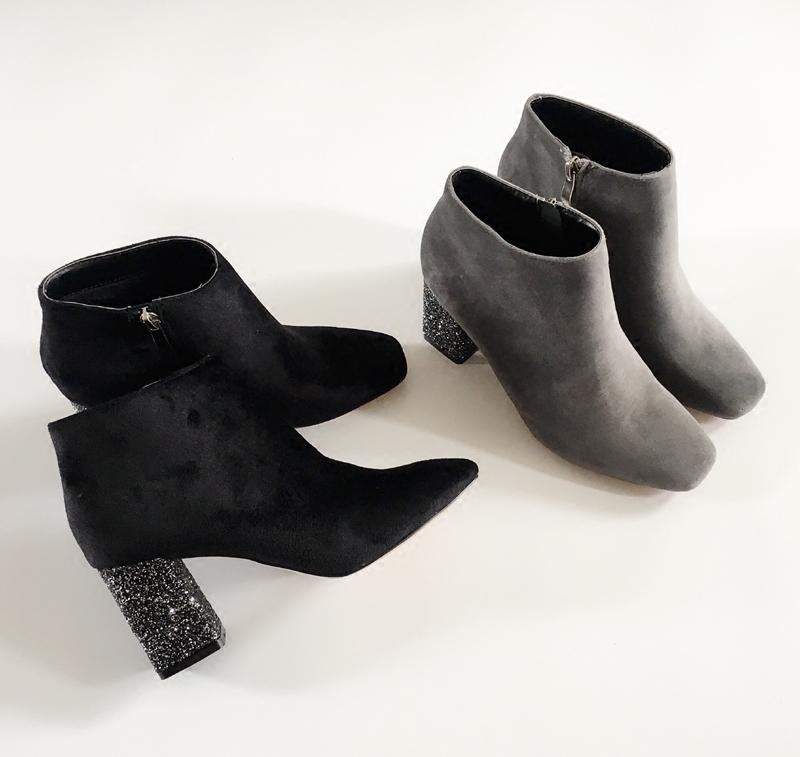 现货立发 短靴 欧美时尚性感绒面方头亮片粗跟高跟女靴子骑士靴