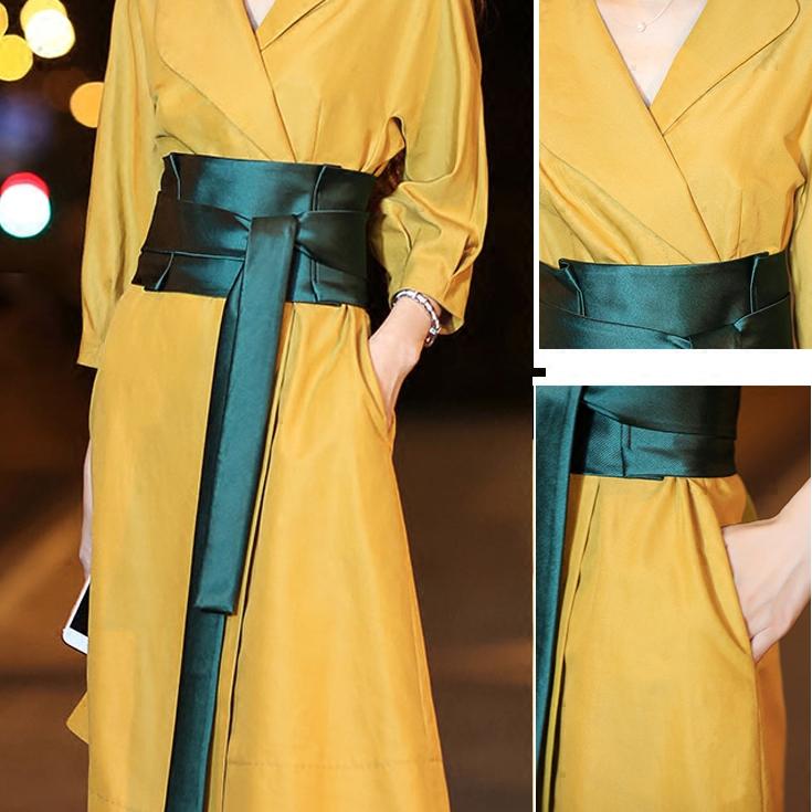 原创优雅复古经典百搭墨绿色束腰缎面亮色腰带服饰配件腰封装饰品