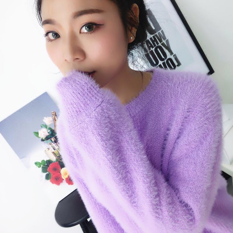 Осень и зима оборудование Корея пушистой Мохер свитер женщин ленивый легко верхней вязать свитер Куртка Пальто