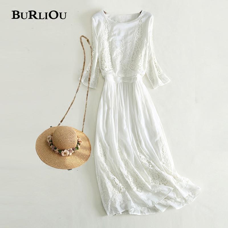 白色真丝连衣裙泰国三亚旅游沙滩裙