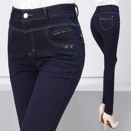 2020秋冬新款中年女式高腰弹力加绒牛仔裤女中老年妈妈裤子小脚裤图片
