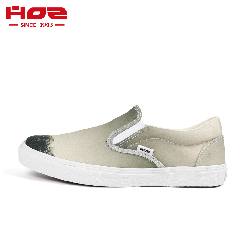 Hoz back street loafers mens and womens low top Lefu shoes couples printed retro casual shoes
