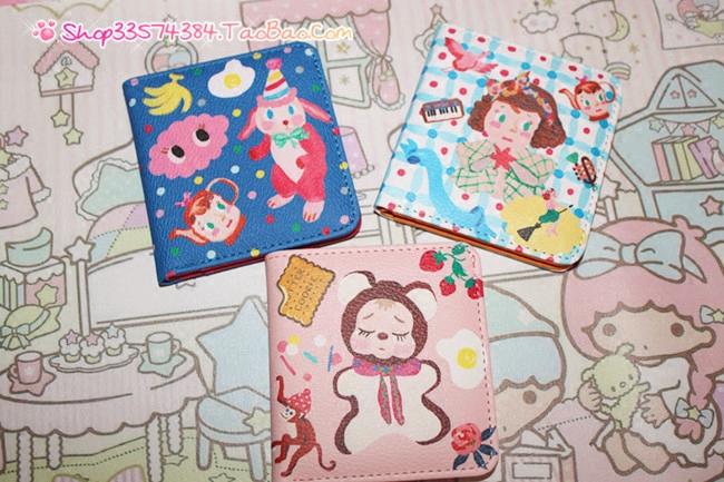 【满88包邮】日系少女心卡通一折超薄小钱包手绘插画可爱短钱夹