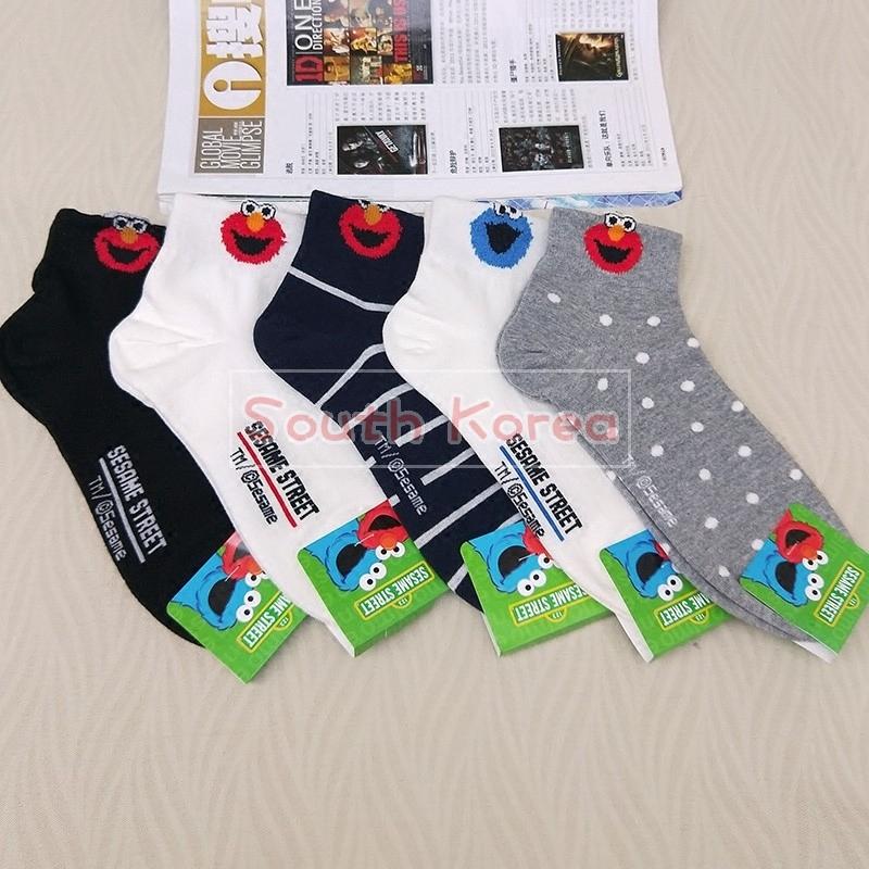 韩国东大门现货卡通袜子女可爱芝麻街春秋短袜女士薄棉袜纯棉袜套