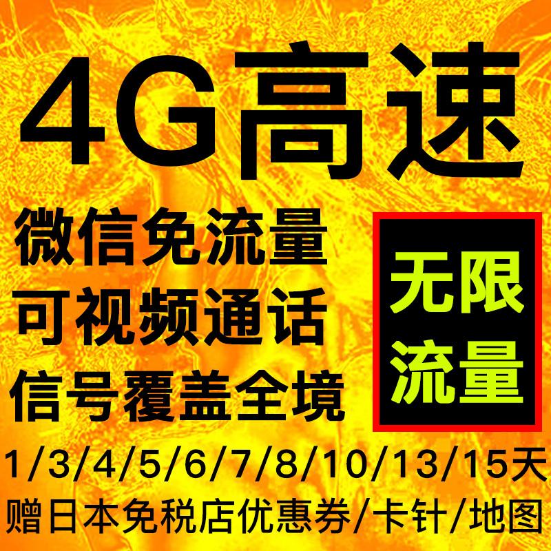 日本高速4G上網不限流量手機電話卡含大阪北海道東京手機上網卡