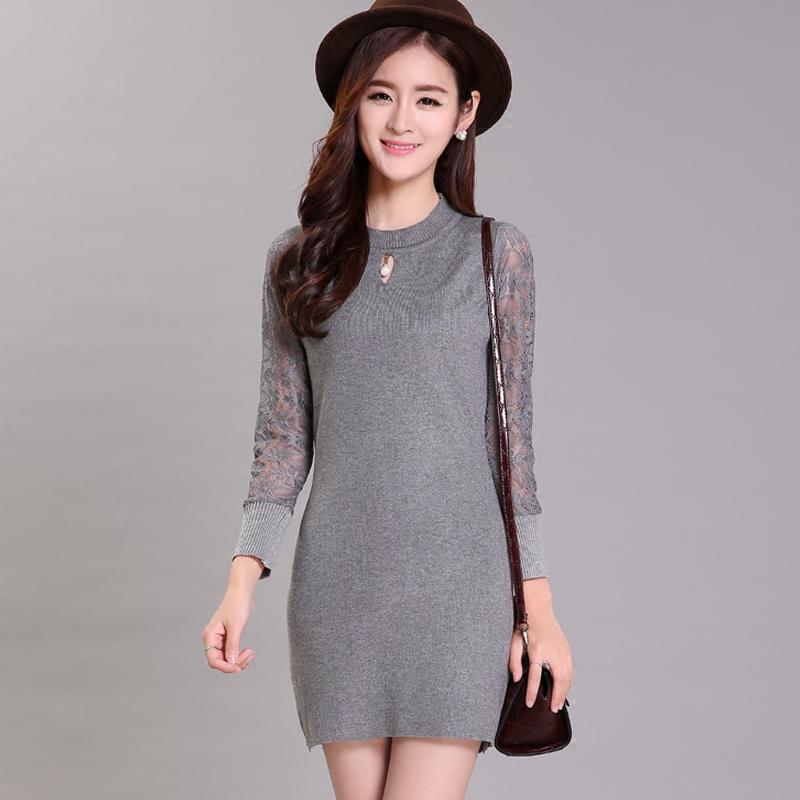 2016 spring women lace sleeve knit shirt female Korean long-sleeved shirt and long sweater dress