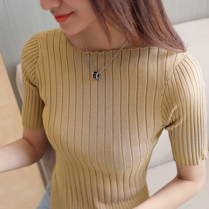 Короткий рукав свитер женские короткие модель установлен глава пятый из рукава тонкие волосы одежда рукав T футболки плотно с коротким рукавом свитер лето