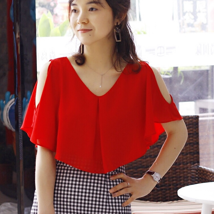 Short Sleeve Chiffon shirt womens summer 2018 new loose and thin Ruffle chiffon shirt Korean off shoulder top
