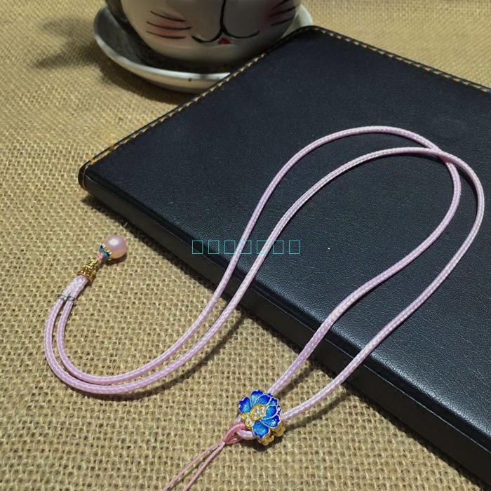 新品特价韩国进口蜡绳搭配精美烤蓝(镶珍珠)可调节男女挂绳批量