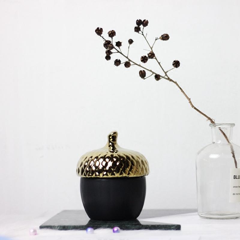 出口單 北歐金色陶瓷松果收納盒儲物罐 桌面擺件樣板房軟裝飾品