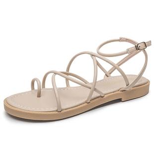 新款平跟平底女涼鞋交叉帶百搭羅馬鞋女套趾細帶羅馬涼鞋女夏學生