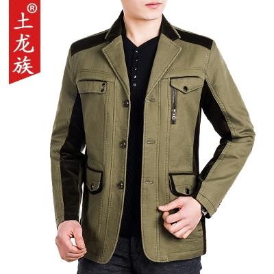 春秋季新品男士中年夹克外套男装休闲西装领纯棉爸爸装外套上衣男