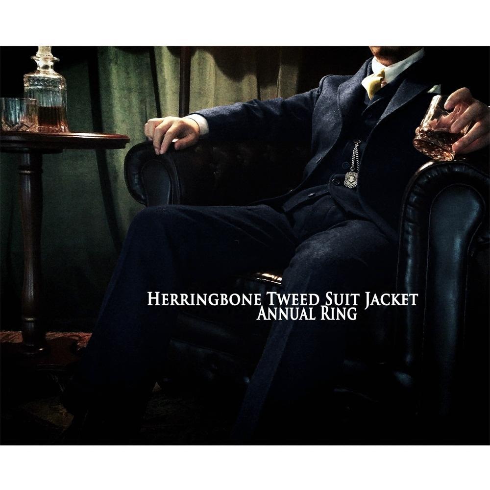 annualring美式复古西装蓝色男夹克