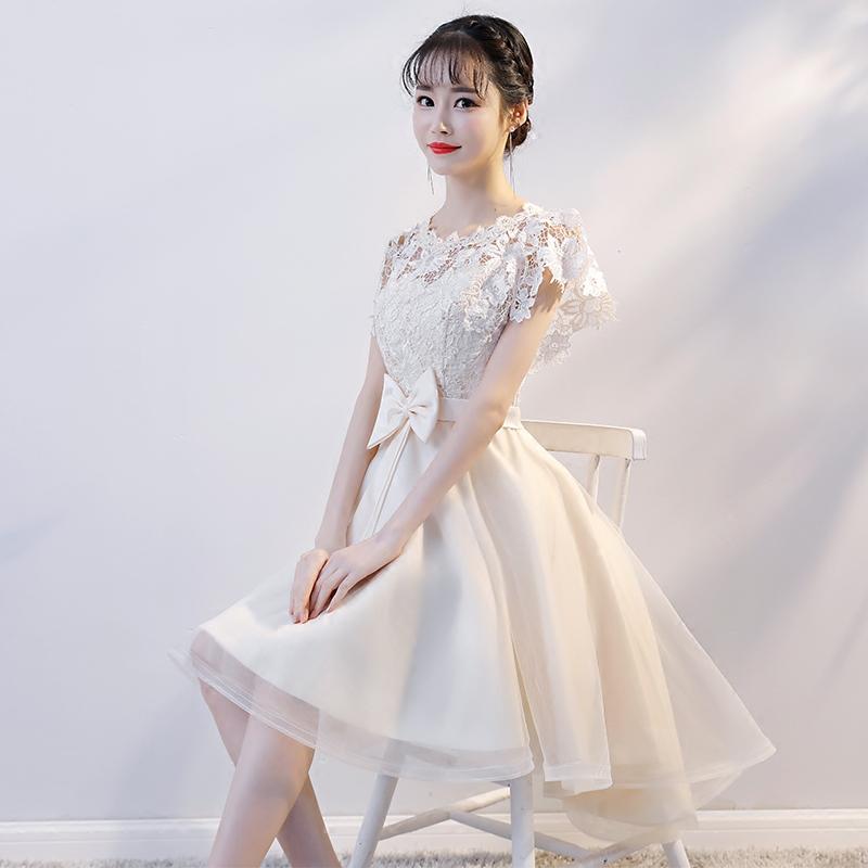 伴娘服2018新款洋装短款聚会名媛宴会小礼服连衣裙端庄大气夏季女