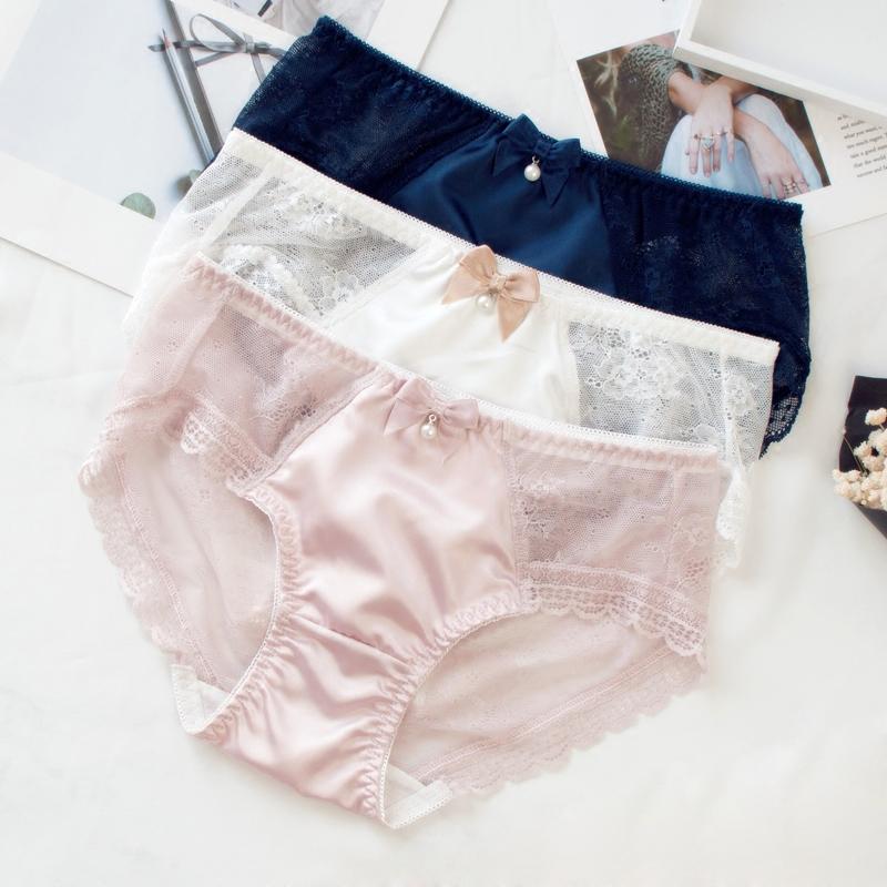 春夏新款女内裤公主蕾丝超薄三角大码日系拼接透明内裤纯棉裆透气