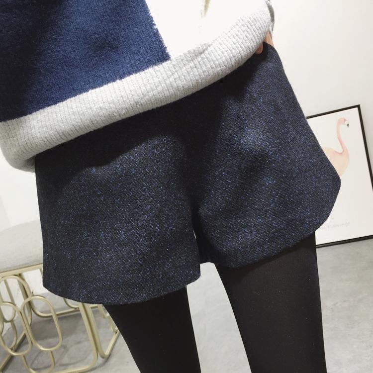 毛呢短裤秋冬女高腰阔腿裤2018新款韩版百搭外穿冬季打底呢子靴裤