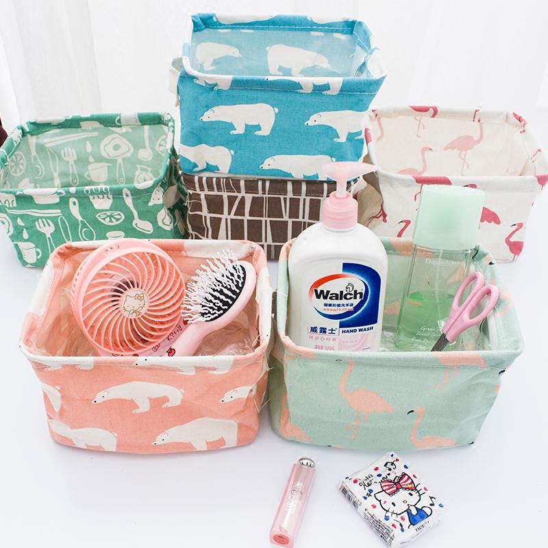 火烈鸟桌面收纳盒布艺玩具小篮子创意化妆品收纳筐零食杂物整理筐