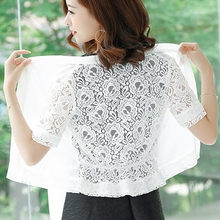 Chiffon Shawl Ladies Summer Short Style Large Size Lace Card Sunscreen Thin Coat with Skirt Overlay
